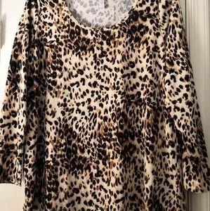 LuLaRoe Lynnae Tunic Top 2XL Leopard Print UNICORN